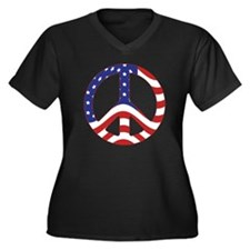 Patriotic Peace Sign Women's Plus Size V-Neck Dark