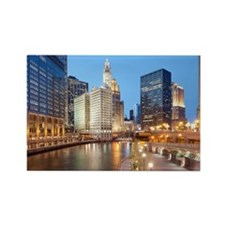Chicago River, Downtown Chicago,  Rectangle Magnet