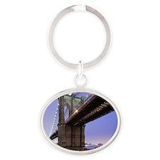 Underneath Brooklyn bridge, New York Oval Keychain