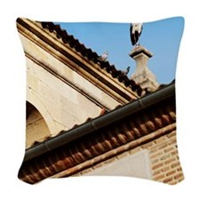 Two pigeons next to a stork on Woven Throw Pillow