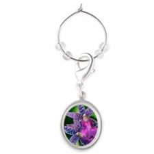 Close-up of orchid Oval Wine Charm