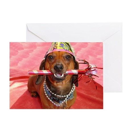 Party Animal Dachshund Greeting Card