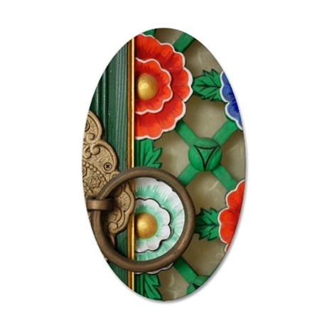 Temple Door, South Korea 35x21 Oval Wall Decal
