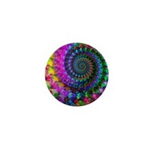 Psychedelic Rainbow Fractal Pattern Mini Button