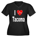 I Love Tacoma (Front) Women's Plus Size V-Neck Dar