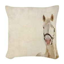 White horse. Woven Throw Pillow