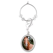 Young brown quarter horse eating g Oval Wine Charm
