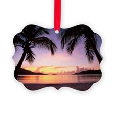 Silhouettes of palm trees with su Ornament