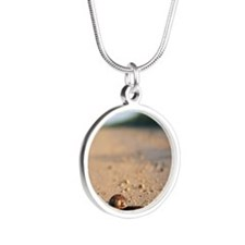 A snail on a country road, c Silver Round Necklace