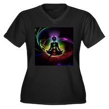 CHAKRAS 2 Women's Plus Size V-Neck Dark T-Shirt