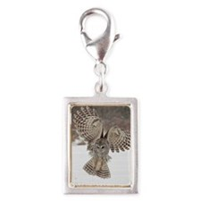 Barred owl hunting Silver Portrait Charm