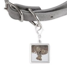 Barred owl hunting Small Square Pet Tag