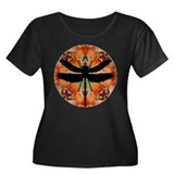 Dragonfly Women's Plus Size Scoop Neck Dark T-Shir
