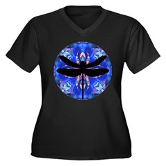 Dragonfly Women's Plus Size V-Neck Dark T-Shirt
