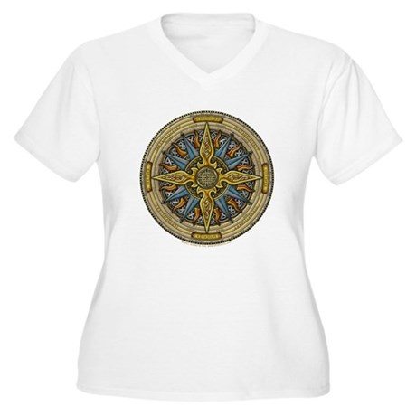 Celtic Compass Women's Plus Size V-Neck T-Shirt