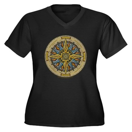 Celtic Compass Women's Plus Size V-Neck Dark T-Shi