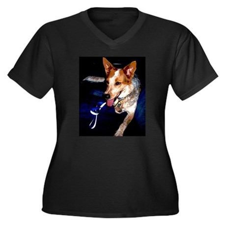 Red Heeler Women's Plus Size V-Neck Dark T-Shirt