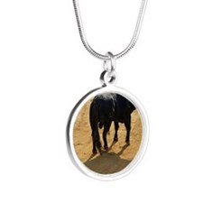 Bull in bullring Silver Round Necklace