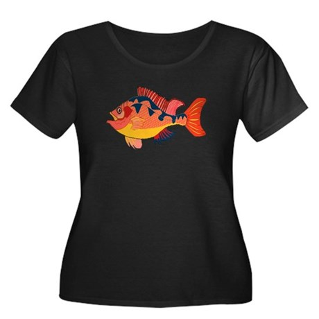 Colorful Fish Women's Plus Size Scoop Neck Dark T-