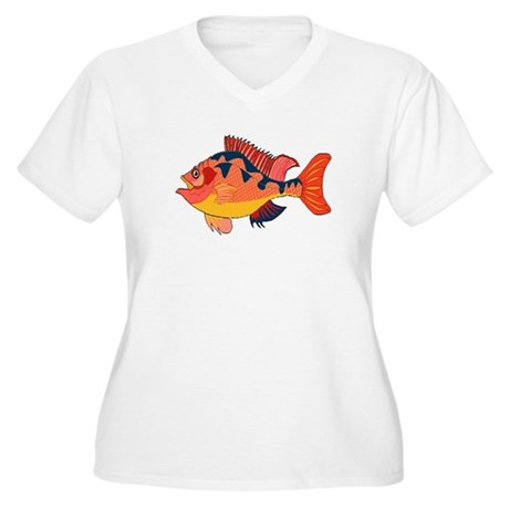 Colorful Fish Women's Plus Size V-Neck T-Shirt