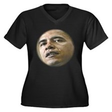 BARACK OBAMA Women's Plus Size V-Neck Dark T-Shirt
