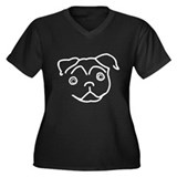 Pug Line Women's Plus Size V-Neck Dark T-Shirt