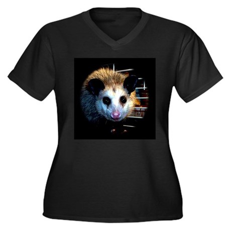 The Opossum Women's Plus Size V-Neck Dark T-Shirt