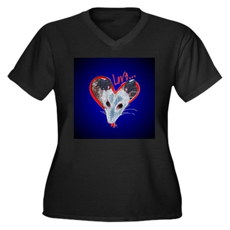 Possum Love Women's Plus Size V-Neck Dark T-Shirt