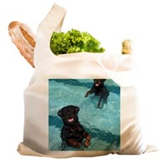 Two rottweilers dog puppy in Reusable Shopping Bag