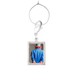 Man in Uncle Sam's costume as  Portrait Wine Charm
