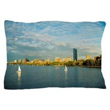 Sailboats in a river, Charles River, B Pillow Case