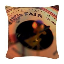 close-up of a barometer Woven Throw Pillow