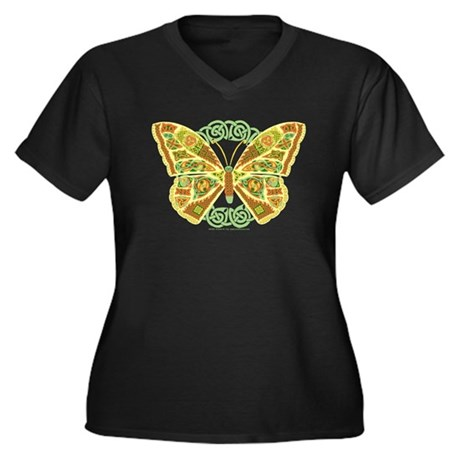 Celtic Butterfly Women's Plus Size V-Neck Dark T-S