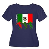 Mexico Soccer Women's Plus Size Scoop Neck Dark T-