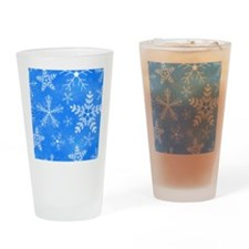Blue and White Snowflake Pattern Drinking Glass