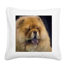 Chow showing his blue tongue Square Canvas Pillow
