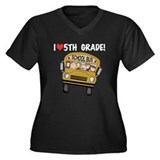 School Bus 5th Grade Women's Plus Size V-Neck Dark