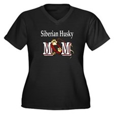 Siberian Husky Mom Women's Plus Size V-Neck Dark T