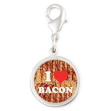 I love Bacon Silver Round Charm