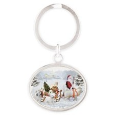 Great Pyrenees and Santa Oval Keychain