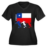 Soccer Chile Women's Plus Size V-Neck Dark T-Shirt