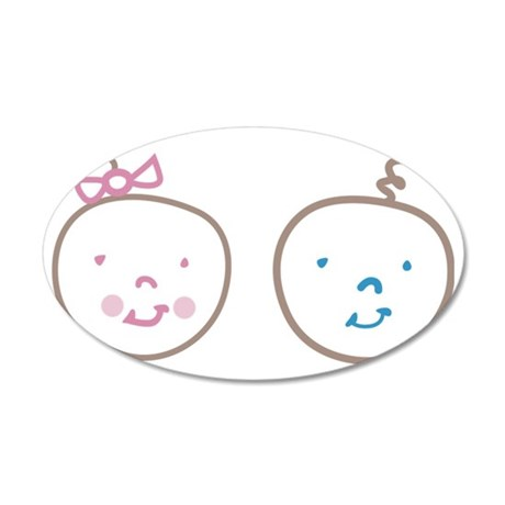 Two Cute Twins 35x21 Oval Wall Decal