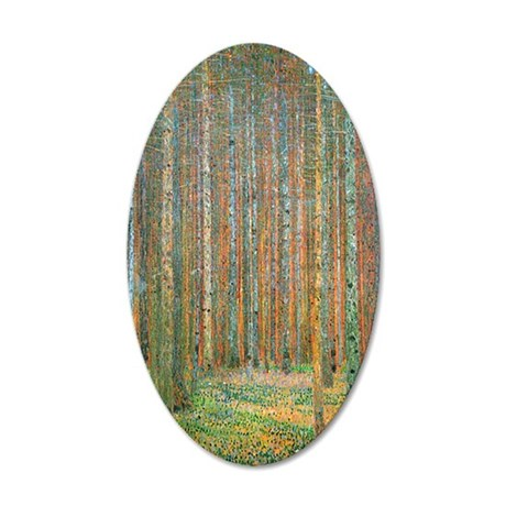 Gustav Klimt Pine Forest 35x21 Oval Wall Decal