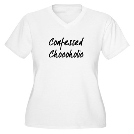Confessed Chocoholic Women's Plus Size V-Neck T-Sh