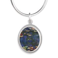 Claude Monet Water Lilies Silver Oval Necklace