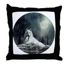 White Wolf and Pup Throw Pillow