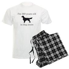 80 birthday dog years golden retriever Pajamas