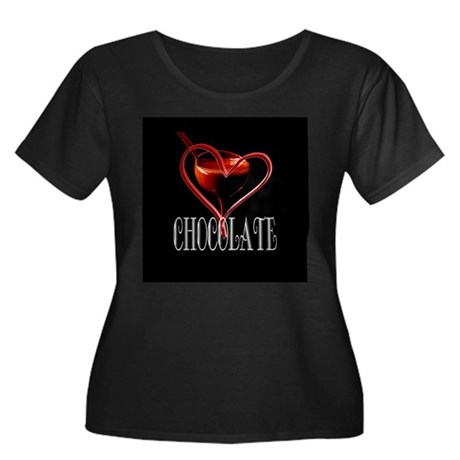 CHOCOLATE Women's Plus Size Scoop Neck Dark T-Shir