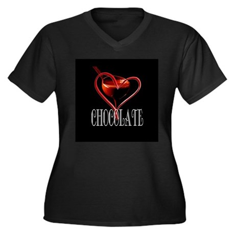 CHOCOLATE Women's Plus Size V-Neck Dark T-Shirt