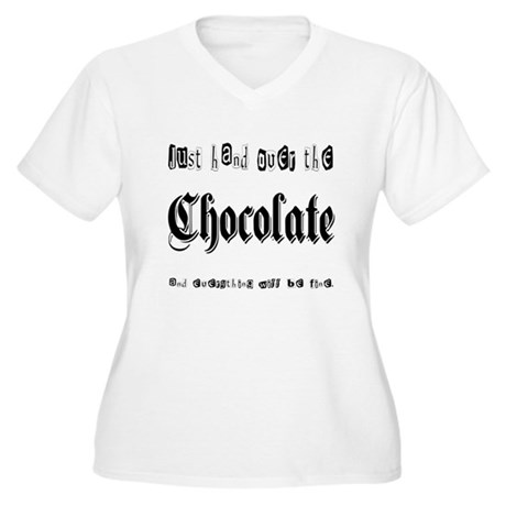 Hand Over the Chocolate Women's Plus Size V-Neck T